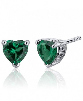 1.50 Carats Simulated Emerald Heart Shape Stud Earrings Sterling Silver - C612N42RUUH