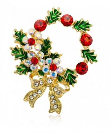 Akianna Gold-tone Swarovski Element Crystals Christmas Wreath Pin Brooch - C8126NQRJO1