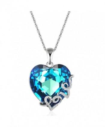 "Lelekiss ""Heart of the Ocean"" Swarovski Crystal Love Heart Pendant Necklace for Women- 18'' - Blue - C212BVCQC9P"