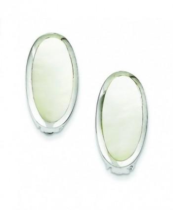 Sterling Silver Oval Mother Of Pearl Inlay Non-Pierced Earrings - CW11572A0YN