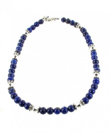 Womens Lapis Lazuli & Sterling Silver Ladies Beaded Gemstone Anklet with Daisies - CL11CTHKORN