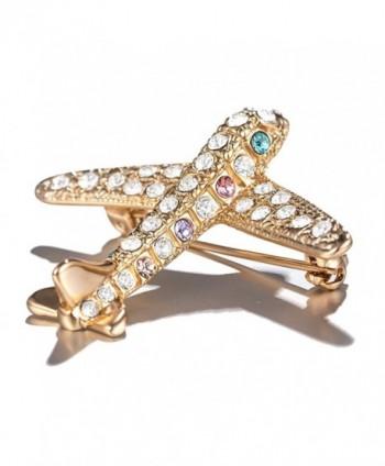 PANGRUI Delicate Crystal Rhinestone New Trendy Design Plane Brooch Pin for Girls - gold - CQ183NEKUMM