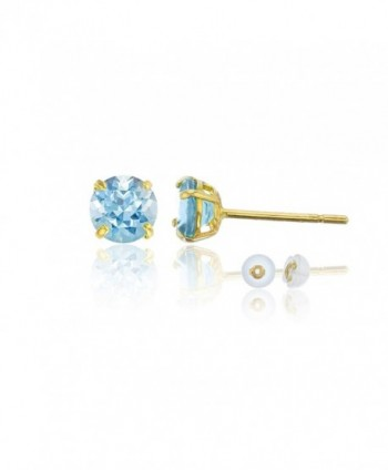 14K Yellow Gold 4.00mm Round Stud Earring - Aquamarine - CF187ID4GYH