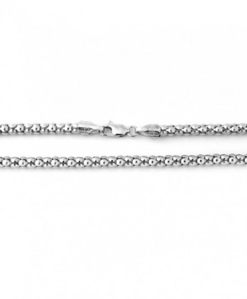 "Solid Sterling Silver Rhodium Plated 4.2mm Popcorn Chain Necklace- 16"" 18"" 20"" 22"" 24"" - CX11MQ4VA6R"