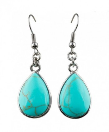 SUNYIK Women's Gemstone Dangle Earrings with Fishhook - 1-Green Howlite Turquoise(Teardrop) - CF12L2Z3LX1