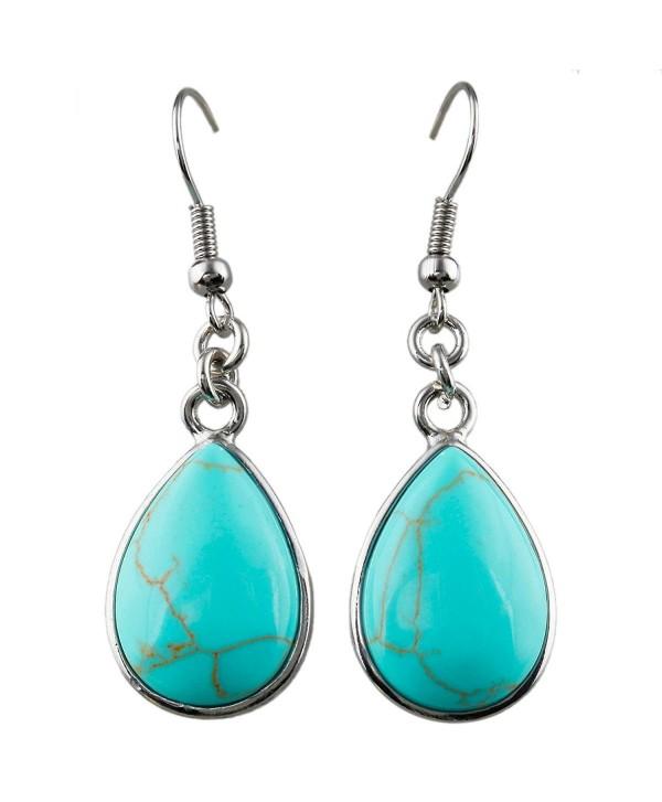 SUNYIK Women's Gemstone Dangle Earrings with Fishhook - 1-Green Howlite Turquoise(Teardrop) - CF12L2Z3LX1