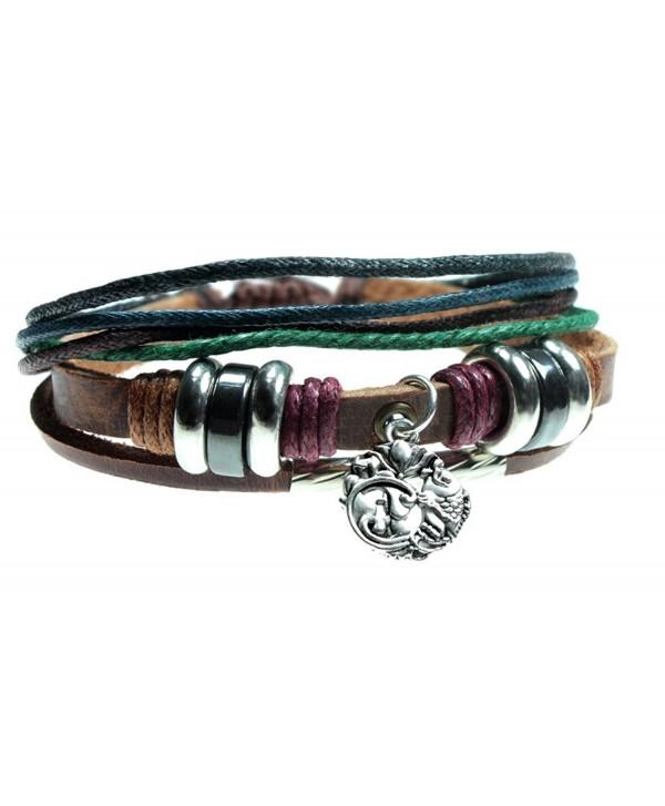Lotus Flower Charm Leather Zen Yoga Bracelet For Men- Women- Teens in Gift Box - CA12HBGS671
