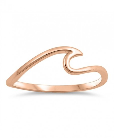 Wave Ocean Sea Thumb Stackable Ring New .925 Sterling Silver Band Sizes 4-10 - CL187Z26LU8