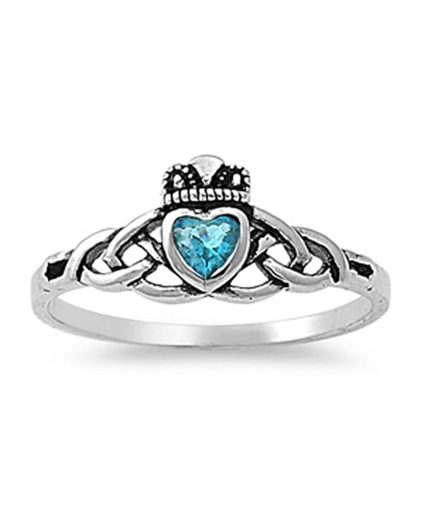 CHOOSE YOUR COLOR Sterling Silver Claddagh Celtic Knot Ring - Simulated Aquamarine - CD187YYGLU9