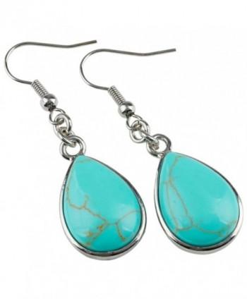 SUNYIK Turquoise Teardrop Earrings Fishhook