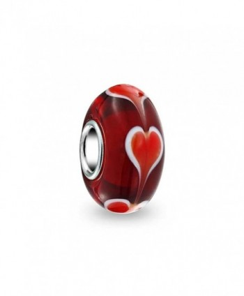 Bling Jewelry Murano Red Heart Glass Bead Charm Sterling Silver - CA115QKI4IL