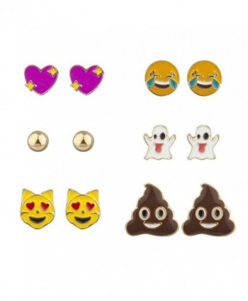 Lux Accessories Goldtone emoticon Heart Laughing Ghost Cat Poop&Acirc Stud Earrings - CP17YH8M9M2