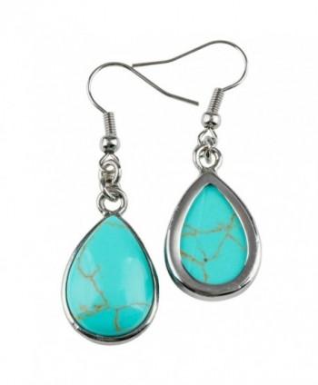 SUNYIK Turquoise Teardrop Earrings Fishhook in Women's Drop & Dangle Earrings
