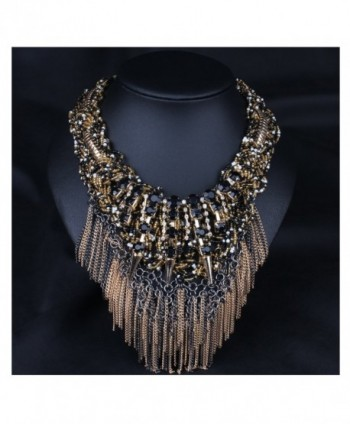 Hamer Women's Brown Bib Handmade Weave Choker Statement Necklace Pendant Jewelry Bohemia Vintage - C912G4T1OCZ