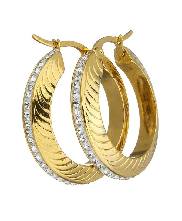 "1"" Stainless Steel Gold Plated with Rhinestone Wave Design Hoop Earrings 161104144012 - C512O437PMJ"