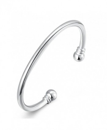 925 Sterling Silver Bangle Bracelet- HTOMT Fashion Simple Open Bangles Two Bead Cuff Jewelry for Women - CQ12E3OFUKP
