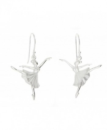 Sterling Silver Rhodium Plated 3d Arabesque Position Ballet Dancing Ballerina Earrings - CC11J4PCCJB