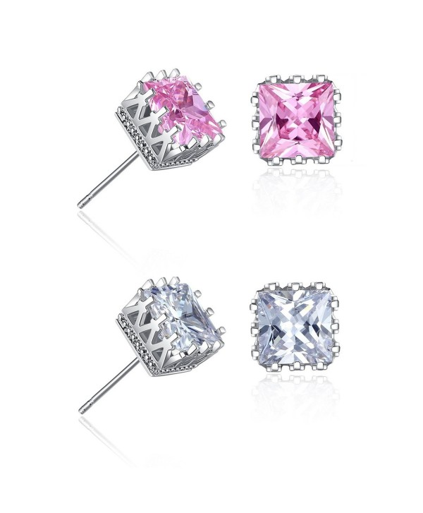 18K Gold Plated Princess Square Cut Cubic Zirconia Stud Earrings - Pink and silver 2 Pairs - CY1895MIHZS