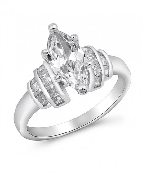CHOOSE YOUR COLOR Sterling Silver Marquise Ring - White Simulated Cubic Zirconia - CS187Z2RRXE