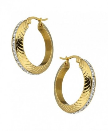 Stainless Plated Rhinestone Earrings 161104144012 in Women's Hoop Earrings