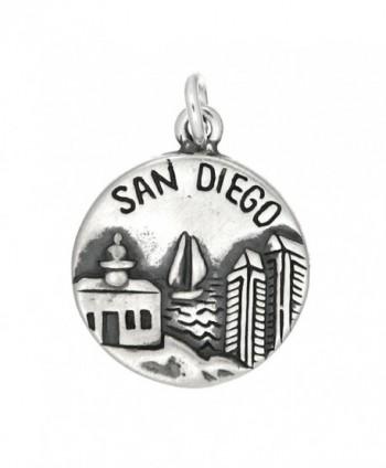 Sterling Silver Oxidized San Diego America's Finest City Charm - C911DIRCFMZ