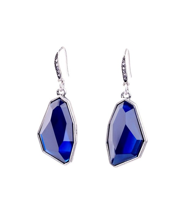 Elegant Silver Plated Blue Crystal Signature Drop Earrings Created with Swarovski for Brides Proms - Blue - CS185EWAD8D