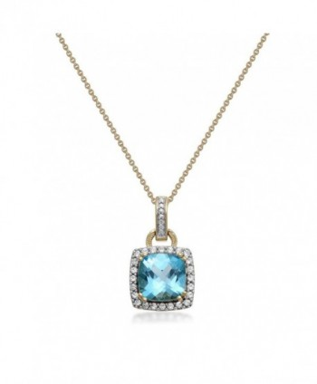 Jewelili Sterling Cushion Sapphire Necklace - CP1855EEE7O