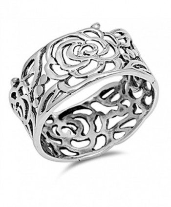 Women's Rose Flower Wrap Cutout Ring New .925 Sterling Silver Band Sizes 5-12 - CS123UYT87F