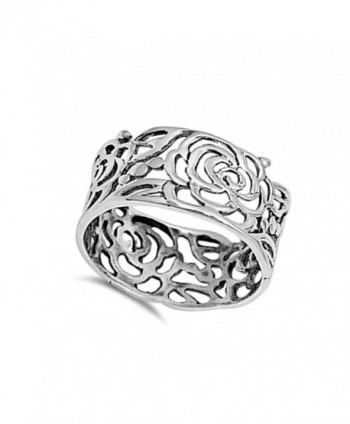 Womens Flower Cutout Sterling Silver in Women's Band Rings