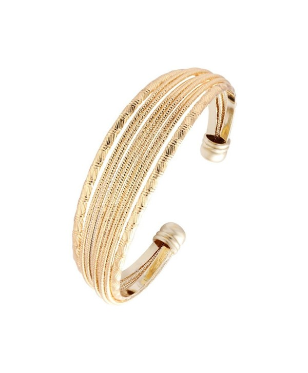 SENFAI Western Style New Multilayer Punk Vintage Cuff Bracelets Bangle Copper Opened Trendy Wide Bangles - CO12GMI08VV