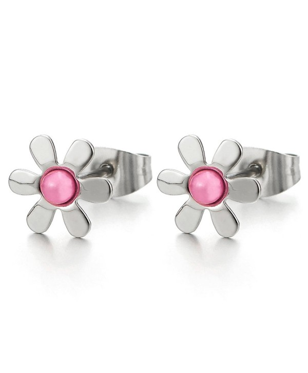 Pair Flower Stud Earrings of Stainless Steel for Women and Girls - 3 - CH1869DTLX8