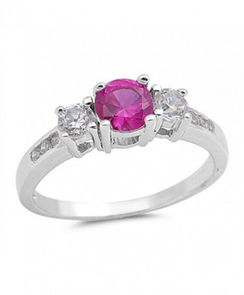CHOOSE YOUR COLOR Sterling Silver Round Ring - Simulated Ruby - CZ12G76EX41