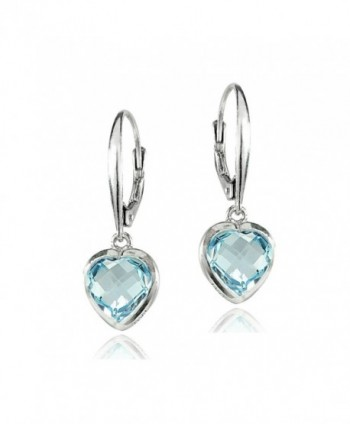 Sterling Silver Blue Topaz 8mm Bezel-Set Heart Dangle Leverback Earrings - CM186Z3GKTO