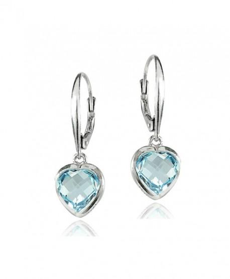 Sterling Silver Blue Topaz 8mm Bezel-Set Heart Dangle Leverback Earrings - CM186Z3GKTO