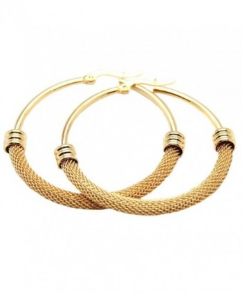 Women's Gold Plated Titanium Steel Mesh Hopp Earring 3.8cm - C0123CCI4MF