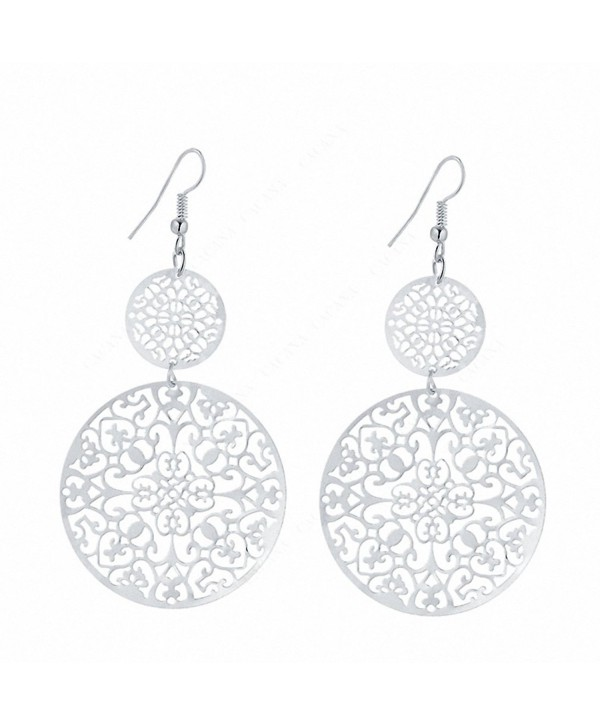 IDB Delicate Filigree Dangle Double Circle Drop Hook Earrings - available in silver and gold tones - Silver Tone - C3187RAS9KE