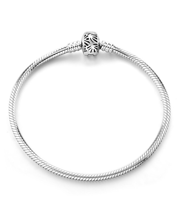 Bracelet 925 Sterling Silve Basic Charm Bracelet Snake Chain Long Way Fine Jewelry for Women - Silver 8.3inches - CZ188HUGE9M