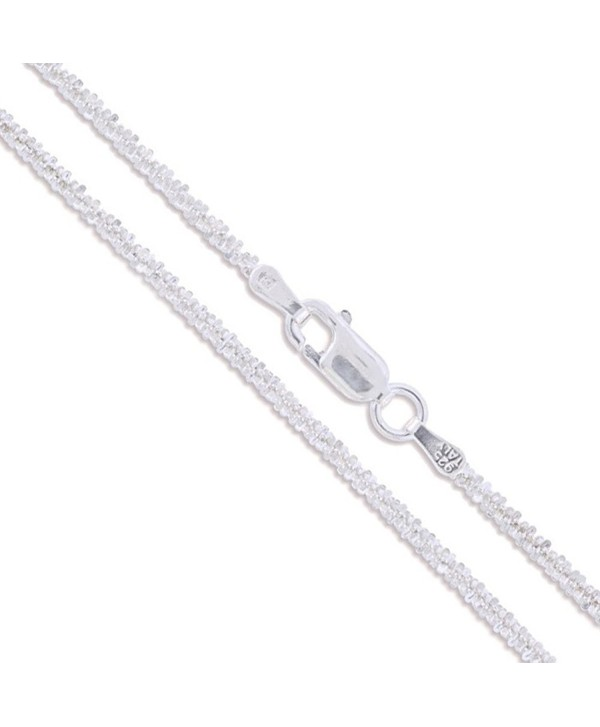 Sterling Silver Diamond-Cut Popcorn Chain 1.8mm 925 New Criss Cross Necklace - C311EYZR5WF