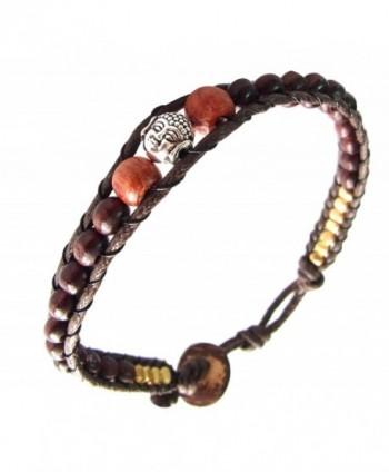 Asian Jewelry Thai Handmade Bracelet Rhodium Head Buddha Prayer Blessed Brass Mala Brown Wood Beads - CY12HUR5AQP