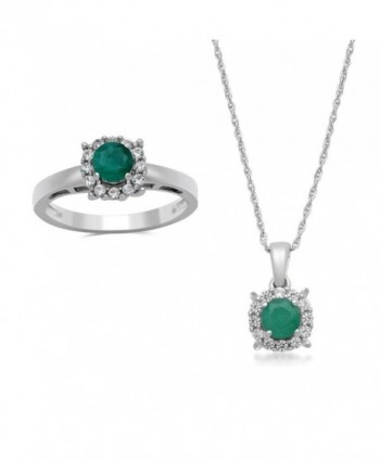 Jewelili Sterling Silver Emerald with Created White Sapphire Halo Pendant Necklace And Ring Box Set- Size 7 - CE1855C6T5R