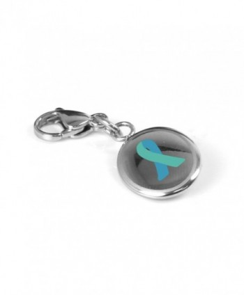 MyIDDr Custom Engraved Teal Awareness Charm - 316L Steel - CS125LNQI0D