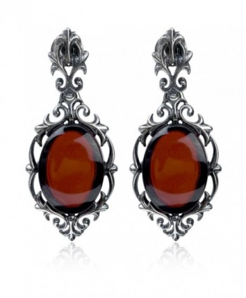 Cherry Amber Sterling Silver Antique Finish Stud Earrings - CY11XLBCV77