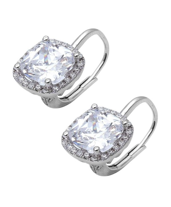Leverback Earrings Simulated Zirconia Sterling - Simulated Cubic Zirconia - CF12OCSL1NL