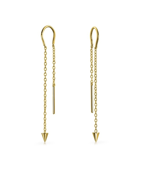 Bling Jewelry Gold Plated 925 Silver Spike Long Chain Threader Earrings - CW12N9QKS8E
