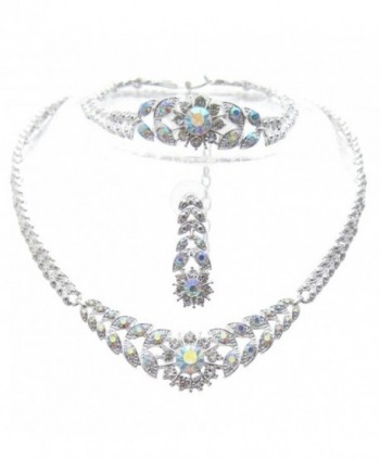 Crystal Sunburst 3 Piece Bling Bridal Necklace Earring AB IRIDESCENT SilverTone - CI11FQP5G7D