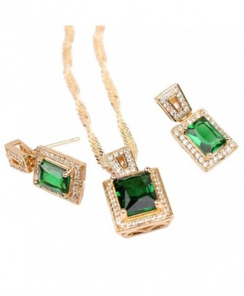 Wedding Set Gold Tone Womens Pendant Necklace Earrings Set with Sqaure Green Zircon Stone - CB11TX7WZ1F