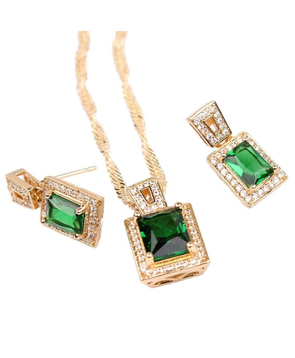 Wedding Set Gold Tone Womens Pendant Necklace Earrings Set with Sqaure Green Zircon Stone - CB11TX7WZ1F