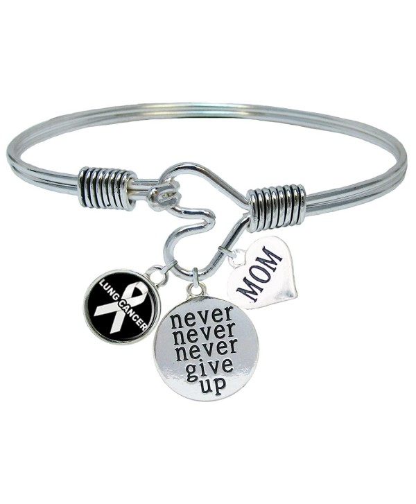 Custom Lung Cancer Awareness Never Give Up CHOOSE MOM OR DAD CHARM ONLY Bracelet Jewelry - CF1864LIMAU