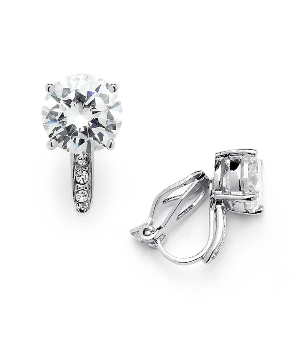 Mariell 2.0 Cwt. Cubic Zirconia Clip On Stud Earrings Round Solitaire with 8mm Gems and Pave CZ Accents - Silver - CP12J5BEH41