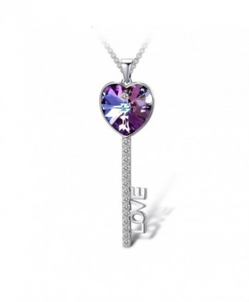 "T400 Jewelers ""Love Promise"" Heart Swarovski Elements Crystal Key Pendant Necklace Love Gift - Violet - CE17Z2EXT27"